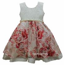Vestido Infantil Festa Floral Barbie 1 Ao 12 Anos Com Tiara
