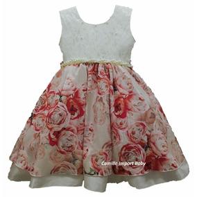Vestido Infantil Festa Floral Luxo 1 Ao 12 Anos Com Tiara