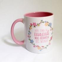 Taza Personalizada Ceramica Regalo Recuerd Mama 10 Mayo Rosa