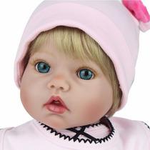 Boneca Bebê Reborn Realista Loirinha Europeia Olhos Azuis