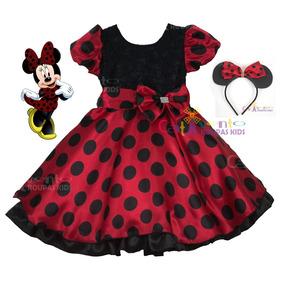 Vestido Festa Infantil Minnie Com Tiara De Orelinha 1 Ao 12