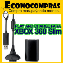 Play And Charge Kit Xbox 360 Slim Color Negro Nuevo!!!