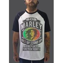 Raglan Bob Marley Camisetas Blusa Moletom Banda Reggae Rasta