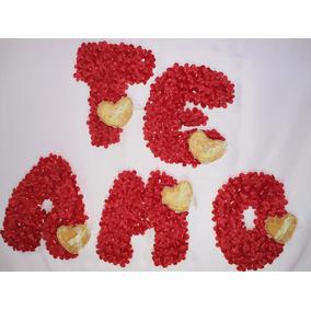 Letras En Telgopor, Con Flores De Raso. Artesanal.