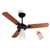 5 Kits Ventilador Teto Wind Light Preto Mogno Controle Remot