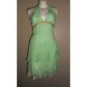 Milly Exótico Vestido Halter Verde Y Dorado Fiesta Seda T-4