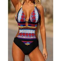 Traje De Baño Trikini Bikini Vintage Indigo Etnico Push Up