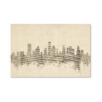 Houston, Texas Skyline Sheet Music Canvas Art By Michael T