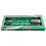 Kit Conjunto Acessórios P/ Acabamento Banheiro 5 Pç Aço Inox