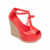 Melissa Peace Sandália Plataforma Meia Pata Sapato Vermelho