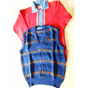 Lote Hombres Sweater Cuello C/cierre Y Chaleco Talle Medium