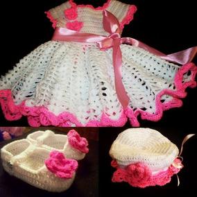 Vestidos Tejidos De Bebe,sombrero Y Zapatos