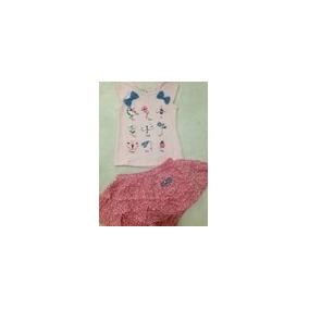 Conjunto Blusa Cotton Estampada Com Short Saia Vgk05