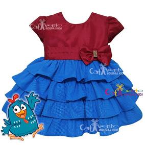 Vestido De Festa Infantil Bebê Galinha Pintadinha Com Faixa