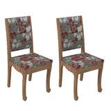 Conjunto 2 Cadeiras Dalla Costa Ca24 Chenille Floral Vermelh