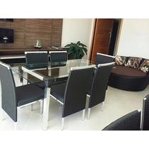 Mesa De Jantar Com 6 Cadeiras Alumínio Fibra Sintética Luxo
