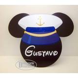 Placa Cabeça Mickey Marinheiro Enfeite Parede 50x43cm