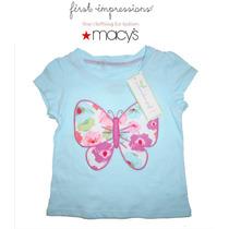 Blusa Azul 12 Meses 1 Ano Nina Bebe Macys Mariposa Hermosa!!