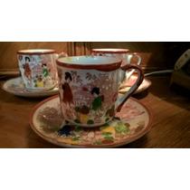 Juego De 5 Tazas De Cafe De Porcelana Japonesa