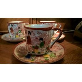 Juego De 4 Tazas De Cafe De Porcelana Japonesa