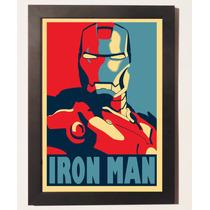 Quadros Poster Homem De Ferro C Moldura Geek Vintage