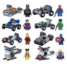 08 Bonecos + Veiculo Lego Batman Super Homem Aranha Superman