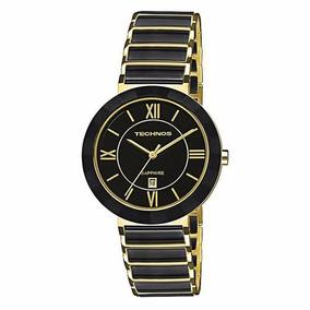 Relógio Technos Feminino Cerâmica Preto C/ Dourado 2015ce/4p