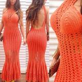 Lindo Vestido Em Crochê Personalizado 100% Feito A Mão