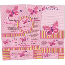 Kit Imprimible Baby Shower Mariposa / Invitaciones/bautizo