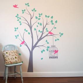 vinilo decorativo infantil bebe nia arbol jaula pajaros