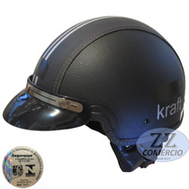 Capacete Kraft Couro Preto Pala Custom Harley Shadow Scooter