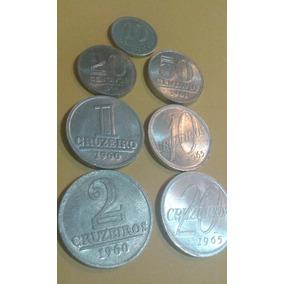 Moedas Antigas Do Brasil Lote Com 7 Moedas De Aluminio Mbc