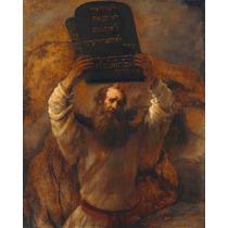 Lienzo Tela Moises Mandamientos Rembrandt Arte Sacro 95x80