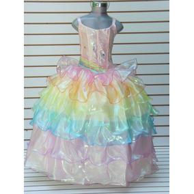 Vestido Barbie Arcoiris Multicolor Graduacion Niñas Lujo