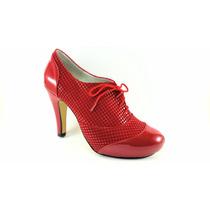 Zapatilla De Plataforma Para Dama Color Rojo Tacón 11cm
