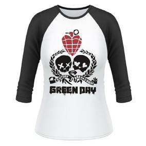 Baby Look Raglan 3/4 Green Day American Idiot Billie Joe #2