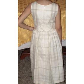 Vestido Blanco Champan Marca Portuguesa Para Niña Talla 10