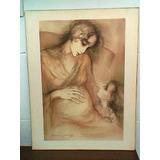 Cuadro Lamina Carbonilla Sepia, Firmado Maternidad