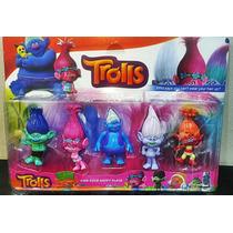 Kit 5 Bonecos Do Filme Trolls Disney Lançamento Decorativos