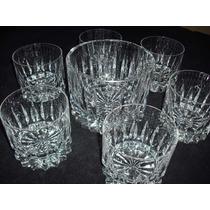 Juego 6 Vasos Whisky+ Hielera Tallados A Mano A Estrenar