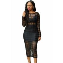 Vestido Sexy Negro Cuadros Transparencias Falda Table Dance