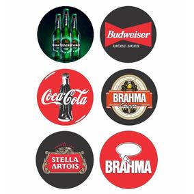 Placas Decorativas Redondas Bebidas Cervejas 23x23cm