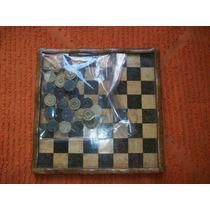 Jogo De Damas Em Pedra Granito - Tamanho 20 X 20 Cm - Antigo