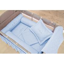 Kit Protetor De Berço Desmontável Cercado Camping Azul 3 Pçs