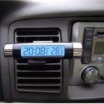 Reloj Con Termómetro Para Auto Con Luz Led