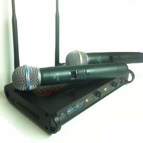 Microfone Duplo S/ Fio Display Lcd Profissional Ku-65 A-20