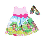 Vestido Temático Dora Aventureira 8, 10, 12 Anos + Sapatilha