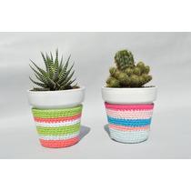 Macetas De Barro Nº10 Con Cactus Y Funda Crochet. Decoracion