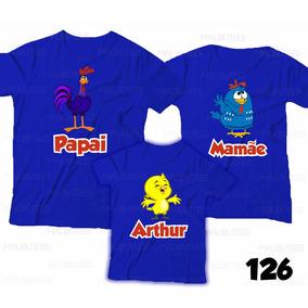Camiseta Galinha Pintadinha Personalizada Aniversário Com 3
