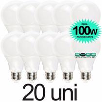 Kit 20 Lampada Bulbo Led 12w A60 Econômica Bivolt 3u E27